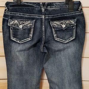 Vanity Dark Stone Wash Sequin Bootcut Jeans 31X33